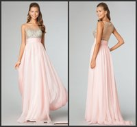 Wholesale HY Top Sell Crystals Beaded Prom Dresses With Ruched Sash Sheer Pink Chiffon Scoop Neck Nude Back Empire Long Homecoming Formal Dress