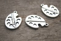 Traditional Charm antique silver paint - 10pcs Paint palette charms Antique Tibean silver Paint Pallet Charm Pendant x19mm