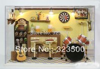 bar furnitures - Wooden Dollhouse Miniature Handmade DIY Assembling Doll House with Furnitures and Light quot The Rock Bar quot Learning amp