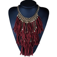 bib necklaces for sale - Hot sale Boho Collars Trend Fashion Maxi Vintage Necklaces Pendants Long Tassel Bib Choker Statement Necklace Jewelry for Woman X58