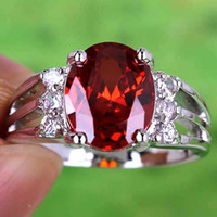 Wholesale 2015 New Arrival Top Red Round Cut Clear White Topaz Gemstone K Platinum Plated Rings For Wedding Prom Evening Cheap Size In Stock A0112