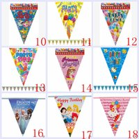 Wholesale 2015 color kid spiderman kt pooh froze sofia princess dora mcqueen car Birthday flags Festive party string flags supplies TOPB2884