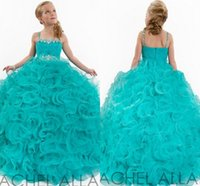 pageant gowns - 2015 Amazing Pageant Dresses For Girls Spaghetti Beads Custom Made Organza Kids Ball Gowns Floor Length Girls Pageant Gowns