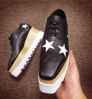 Wholesale Stella Mccartney Sneakers Elyse Platform Shoes Wedge Britt Lace up Slyse Star Faux Leather Wedge Heel Round Toe Derby Shoes