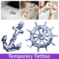art and culture - Pirate Sailor Culture Anchor Design Anchor And Rudder Tattoo Stickers Waterproof Tatoo Temporary Tattoos Transfer Ink Art Paper