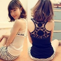 Cheap Free Shipping 2015 Summer Ladies' Black Lace Open Back Fashion Vest blusa de renda White Cotton Casual Sleeveless Tee Shirts