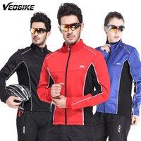 Wholesale Windproof Men Fleece Winter Cycling Jersey Thermal Bike Bicycle Jacket Clothing Casual Long Sleeve Wind Coat M XL WG294