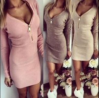 Wholesale New arrive Women Dress Long Sleeve V neck Dress Sexy Stretch Bodycon Dresses Fashion Sring Autumn Style One Piece Casual Clothing