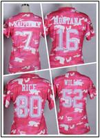 camo football jerseys - Top Fast American Football shirt Kaepernick Montana Jerseys Women s Salute to Service Elite Pink Camo Willis Rice Jersey