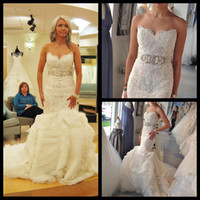 Cheap Sexy Sweetheart Court Train Beading Sash Lace Mermaid Wedding Dress 2014 Real Sample Lace Up Bridal Gown Vestido De Noiva