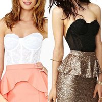 Cheap Sexy Floral Lace Corset Bustier Crop Top Blouse Bra Strapless Tank Free Shipping