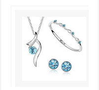 Wholesale Round Romantic Crystal Jewelry Sets Necklace Earrings Bracelets Jewelry Set set