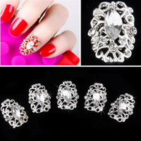 Wholesale 2014 Fashion D Nail Art DIY Metal Hollowed Stickers Rhinestone Nail Art Tips Decals Decoration