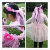 Wholesale Children Veil Fashion Girls Silk and Flower Ornament Veil Hot Kids Diamond Ornament and Net Yarn Tire