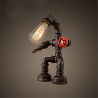 american dining table - Retro American Style Rural Industry Water Pipe Warrior Table Lamp Dining Room Cafes Bar Robot Table Light Creative Study Room Desk Lamp