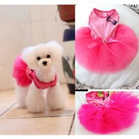 Wholesale Dog Pet Bow Party Skirt Clothes Tutu Layered Princess Dress Hot Pink FZ840 FZ841 FZ867 FZ868