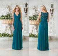 Wholesale Cheap Purple Bridesmaids Long Dresses - 2016 Cheap Jasmine Vintage V Neck Teal Green Chiffon Plus Size Long Bridesmaid Dresses A Line Lace Hollow Back Bridesmaid Gowns DL1314147