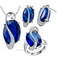 amp ring - trade set of sterling silver jewelry suite K gold plated Set Color synthetic Gemstone Earrings amp amp Pendants and rings
