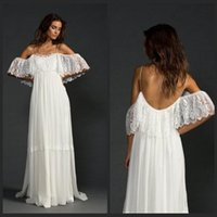 beach features - 2015 Low Back Lace Beach Wedding Dresse Featuring Thin Straps And Fitted French Ivory Lace Bodice Boho Bride vestido de noiva de renda