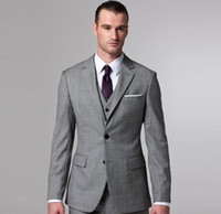 Wholesale 2016 new style fashion design handsome men s suitsCustom Made New Grey Piece Suit Two button Wool Wedding Suits Groom Tuxedo Suit For Mens