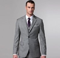 Cheap 2017 new style fashion design handsome men's suitsCustom Made New Grey 3 Piece Suit Two-button Wool Wedding Suits Groom Tuxedo Suit For Mens