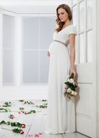 Wholesale 2015 Modest Maternity Wedding Dress With V Neck Short Sleeves Ruched Elastic Satin Floor Length Plus Size Bridal Gown With Crystal Sash