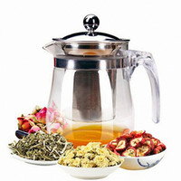 Wholesale New ml Heat Resistant Glass Teapot Flower Tea Set Puer kettle Coffee Teapot Convenient Office Teaset Drinkware T02