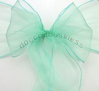 banquet good chair covers - mint green Organza Chair Sashes Bow Cover Banquet promotion price good custom service and quality