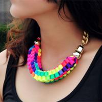 al por mayor collar de cuerda de neón-Joyería de diseño de moda Multicolor Big Chunky Ropes cadena collar de la declaración Collar de neón del ahogador del color para las mujeres 2016 XL001