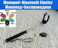 Wholesale Wireless Bluetooth Self Timer Monopod Holder Remote Control Shutter Phone Camera Tripod for Iphone Samsung NOBattery color