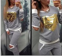 Wholesale 2016 Hot Gold Heart Hollow Out Tracksuit for Women lady hot Hoodies Sweatshirt Pant Jogging Sports Costumes Track suit Piece clothing Set