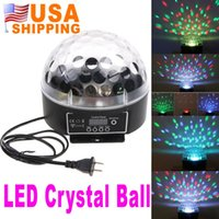Wholesale US Stock To USA CA Mini LED RGB Crystal Magic Ball Effect Light DMX Disco DJ Stage Lighting US Plug UPS Free Ship