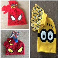 Wholesale Minion wool hats gloves fashion set Despicable me Children cartoon hat spider man hats winter caps and Finger gloves kids christmas gift