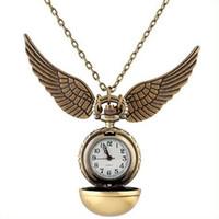 achat en gros de vif d'or montre de poche-2015 Golden Snitch Harry Potter Montre de Poche Steampunk Quidditch Ailes Montre A171