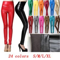 Cheap New Sexy Leather Pants Tight Fleece Leggings Candy Colors Plus Size Fashion Women Winter Warm Christmas Party Leggings Slim High Waist A31
