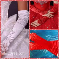 beaded mittens - Embroidery Lace Elastic Satin Bridal Gloves Ruffles Long Beaded Pearls Wedding Gloves For Bridals Wedding Mitten Red White Ivory Black Opera