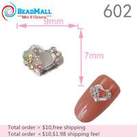 ab base - Min Order Nail Supplies mm D Nail Art Decorations Alloy Crystal AB Rhinestone Heart Silver Base Metallic Nail