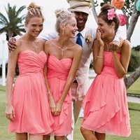 Cheap 2015 Sweetheart Neckline Short Simple Bridesmaid Dress Pleated Coral Chiffon Knee Length A-line Formal Prom Dresses