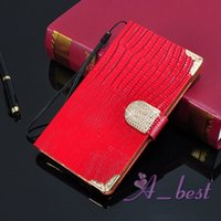 book flip - For Galaxy Note Edge Bling Diamond Lizard Leather Case Book Flip Wallet ID Credit Card Slots For Samsung Note4 N9100 Leather Bag C