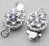 Wholesale Hot sale plum blossom shaped silver pearl necklace clasp bracelet clasp YPJ50