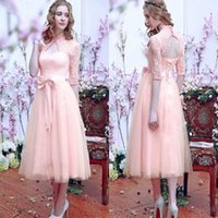 Wholesale Tea Length Bridesmaid Dresses with Half Sleeves High Neck Maid of Honor Dresses Bow Keyhole Lace Wedding Party Dresses with Sleeves