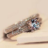Size4-10 Incroyable Victoria Weick argent 925 sterling rempli blanc topaze Ziconia Diamonique de fiançailles de mariage nuptiale Bague Gift Set