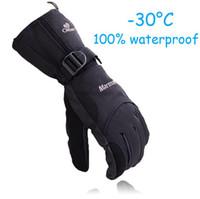 Wholesale Man Winter Ski sport waterproof gloves double gloves black degree warm riding gloves snowboard Motorcycle gloves