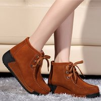 Wholesale Fashion Ankle Boots Womens Genuine Leather Round Toe Lace Up Dunk High Women Thicken Keep Warm Wedges Snow Boots Woman H127