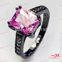 14kt gold jewelry - 2014 New Big Promotion KT Black Gold Filled Pink Sapphire Ring Lady s Finger Rings For Women Jewelry Size R6A0276