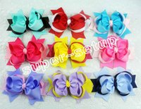 Hair Bows big funky rings - 50pcs Baby handmade Headwear inch big ring grosgrain ribbon Bowknot hair bows boutique funky hair clips Layered hair accessories HD3204