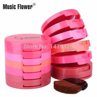 Wholesale makeup Music Flower Blusher color red cheek rouge paste disc Naked makeup fix yan carry bright makeup Blusher