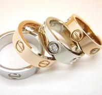 anillo de acero de titanio de oro y plata tornillo amante de boda anillo de la joyería de la cabeza regalo de cumpleaños para las mujeres aumentó