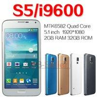 Wholesale USB S5 i9600 MTK6582 Quad Core SM G900 inch Android Cell Phone GB RAM GB ROM S heath Unlock Air Gesture G Smartphones