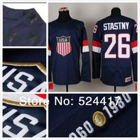 Cheap 2014 Olympic Team USA 26 Paul Stastny Jersey Sochi Winter olympic Ice Hockey Jersey Blue white